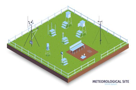 Isometric meteorological center composition with view of fenced green area and weather observing equipment with stairs vector illustration