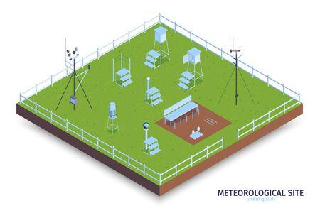 Isometrische meteorologische Zentrumszusammensetzung mit Blick auf eingezäunte Grünfläche und Wetterbeobachtungsausrüstung mit Treppenvektorillustration
