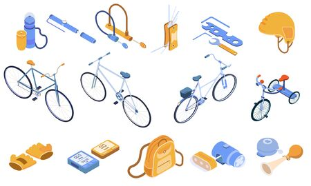 Bicycle isometric set with bike clothes and equipment isolated vector illustration Ilustração