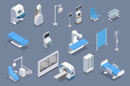 Medical equipment isometric set with isolated colourful images of therapeutic equipment units medical facilities and armamentarium vector illustration