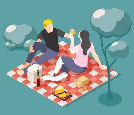 Happy young couple of lovers having  picnic on nature isometric background vector illustration