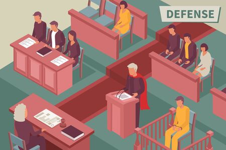 Defense isometric background with lawyer speaking from podium before judge in courtroom isometric vector illustration