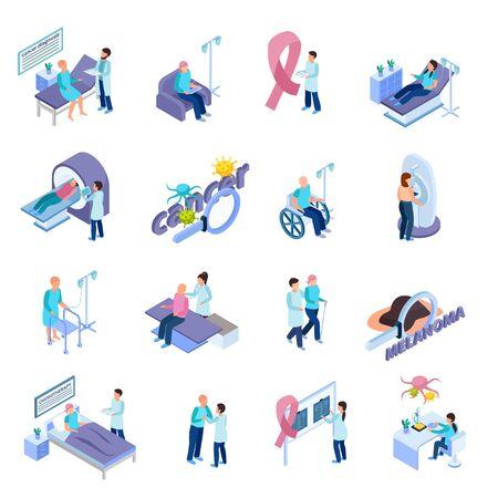 Contrôle du cancer prévention irm détection détection traitement soins palliatifs sensibilisation ruban symbole isométrique icônes définies illustration vectorielle Vecteurs