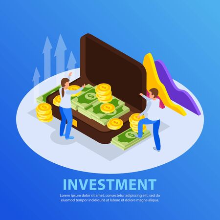 Investment isometric background with editable text and round composition with images of people and money case vector illustration
