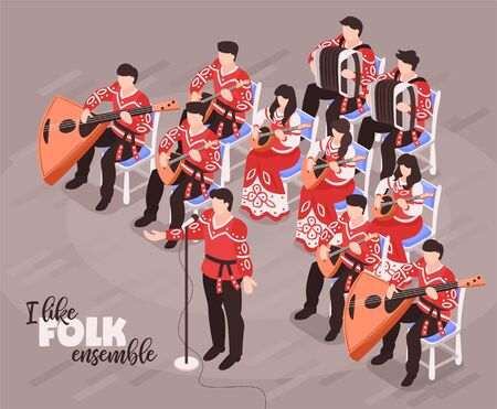 Folk ensemble performance isometric compositions with singer and musicians playing traditional instruments in national costumes vector illustration Illustration