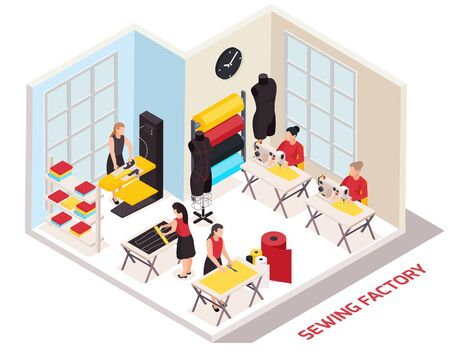 Sewing factory isometric composition with seamstresses and clothes designers at work 3d vector illustration