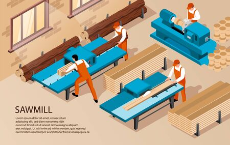 Isometric sawmill woodworking horizontal background with text and indoor composition of workers inside production facility house vector illustration