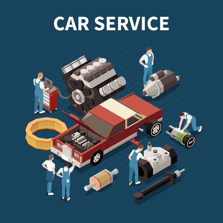 Car service concept with spare parts symbols isometric vector illustration