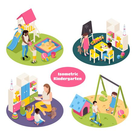 Set of four isolated kindergarten isometric round compositions with playground equipment toys and kids with teachers vector illustration