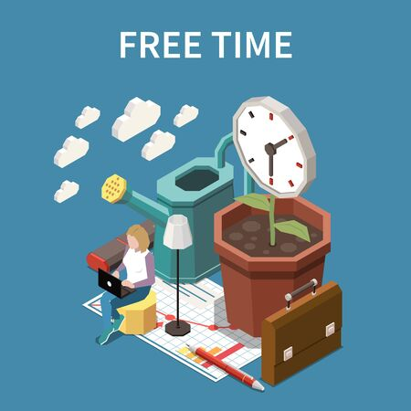 Free time concept with life balance symbols isometric vector illustration