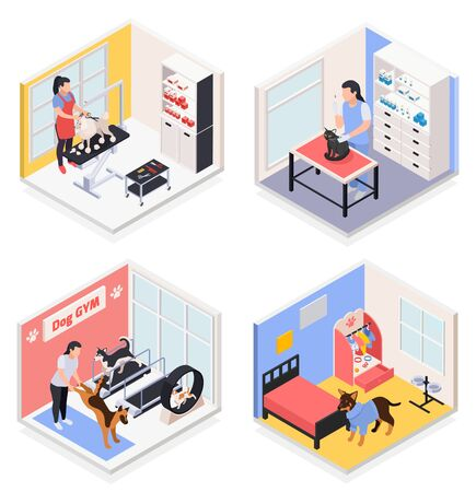 Pet services concept 4 isometric compositions with dog gym grooming salon vet day care center vector illustration