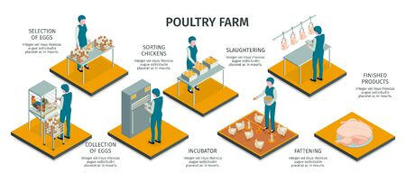 Isometric poultry farm horizontal infographics with characters of workers and animals work activities with text captions vector illustration