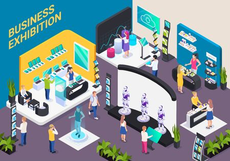 Modern business innovative technology exhibition hall isometric composition with electronic devices robots promotion stands visitors vector illustration