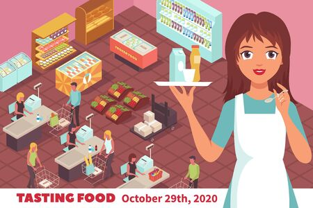 Tasting food poster with cartoon young woman in uniform offering to try milk and fruit drinks at trading hall background vector illustration