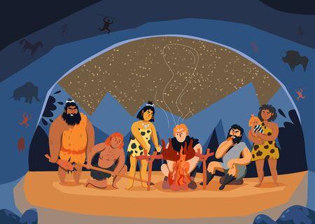 Famille d'hommes primitifs faisant cuire la viande en feu dans l'illustration de vecteur de dessin animé de grotte