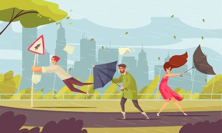 Bad weather in city funny flat composition with people blown off their feet by storm vector illustration  Ilustração
