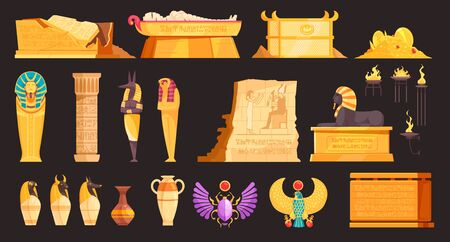 Egypt burial offering jars mummies coffins tombs amulets deities walls etching elements set black background vector illustration
