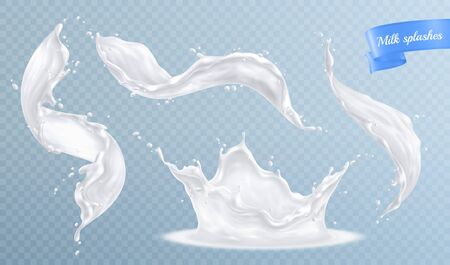 Milk splashes realistic set with isolated images of spluttering drops and white liquid on transparent background vector illustration