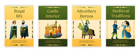 Medieval kingdom 4 flat posters set with royal couple traditions heroes knights  adventures castle isolated vector illustration