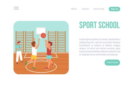 Kid sport web page isometric website with clickable links read more button and images of children vector illustration