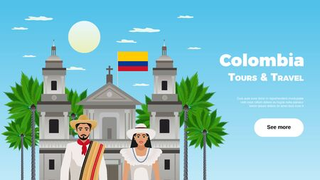 Colombia tours and travel poster with landmarks and national clothes symbols flat vector illustration Foto de archivo - 132820563