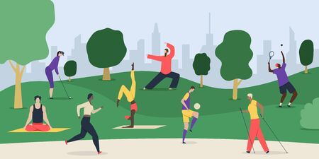 Healthy lifestyle park composition with cityscape and flat doodle style characters of people doing exercises outdoors vector illustration