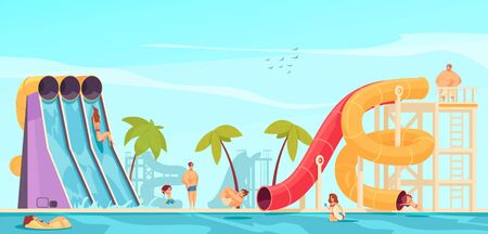 Aqua park leisure center attractions two color tube and tall fast steep water slides flat funny vector illustration
