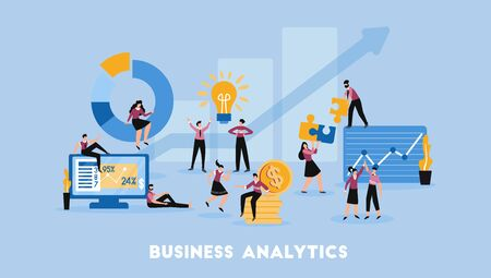 Business partnership cooperation analytics solutions profitable decision management growth chart flat symbols composition blue background vector illustration