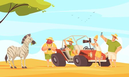Africa safari tour travelers making photos of zebra with camera and smartphone flat composition vector illustration