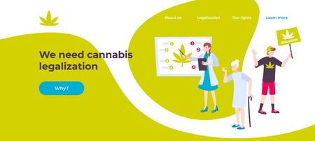Web page cannabis banner with we need cannabis legalization headline and button why vector illustration 向量圖像