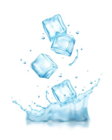 Realistische Eiswürfel spritzt Zusammensetzung mit Blick auf Würfel, die mit Tropfenvektorillustration in kaltes Wasser fallen