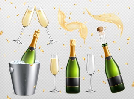 Champagne realistic transparent set with isolated splashes drops and drinking glasses with bottles in ice bucket vector illustration