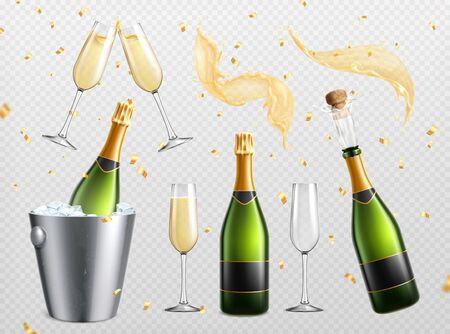 Set trasparente realistico di champagne con gocce di spruzzi isolate e bicchieri con bottiglie nell'illustrazione vettoriale del secchiello del ghiaccio