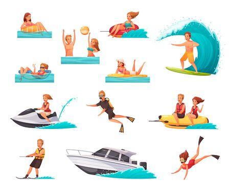 Tekenfilmreeks pictogrammen met mensen die watersporten doen en in zee spelen geïsoleerd op een witte achtergrond vectorillustratie