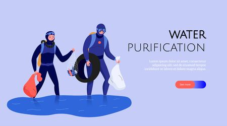Pollution horizontal banner with people collecting rubbish and cleaning water flat vector illustration 向量圖像