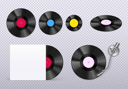 Retro vinyl discs records set with stylus needle against transparent background realistic top view image vector illustration