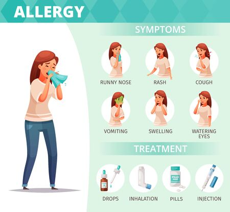 Allergy symptoms and treatment poster with healthcare problems symbols cartoon  vector illustration Stockfoto - 132820575