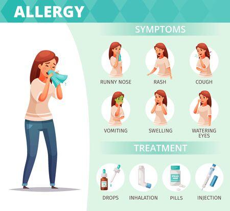 Symptômes d'allergie et affiche de traitement avec des symboles de problèmes de santé illustration vectorielle de dessin animé Vecteurs