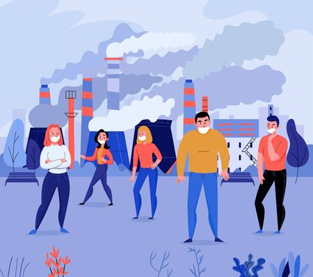 Pollution flat background with group of people wearing face masks near factory polluting air vector illustration