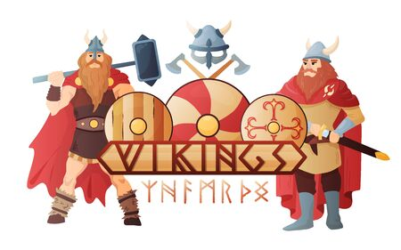 Vikings stylish lettering board with  legendary scandinavian warriors in traditional clothing flat composition title header vector illustration