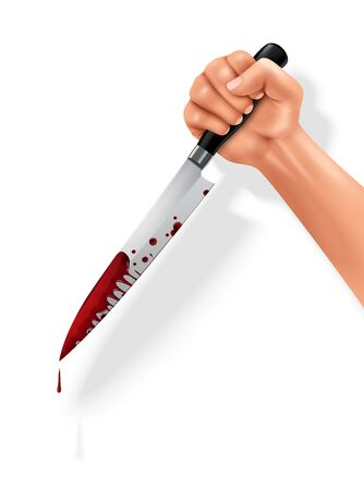 Hand holding bloody butchers knife for cutting meat stainless steel black handle closeup realistic image vector illustration Ilustrace
