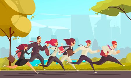 Running people who are late for work at urban skylines background cartoon vector illustration