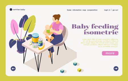 Infant care nutrition information isometric landing page with mother feeding baby choosing healthy child products vector illustration