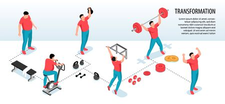 Isometric fitness sport horizontal infographics with human characters of fat people losing weight during sport exercises vector illustration