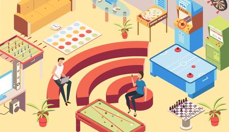 Recreation room isometric background with wifi zone  symbols vector illustration
