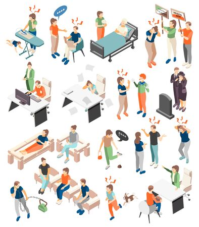 Stress depression symptoms causes treatment isometric icons set with internet addiction relationships loss death burnout vector illustration Vectores