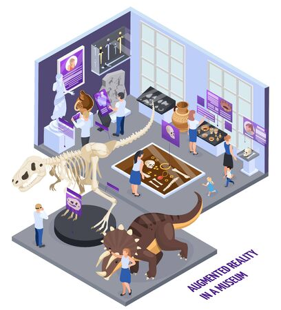 Modern historical museum augmented reality hall with 3d dinosaurs reconstruction info display visitors isometric composition vector illustration Vector Illustration