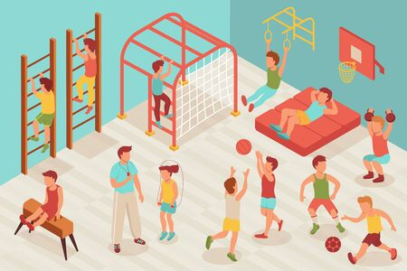 Kid sport gym isometric composition with characters of children doing sports in school gymnasium with teacher vector illustration
