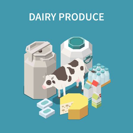 Dairy produce concept with cheese and milk symbols isometric vector illustration