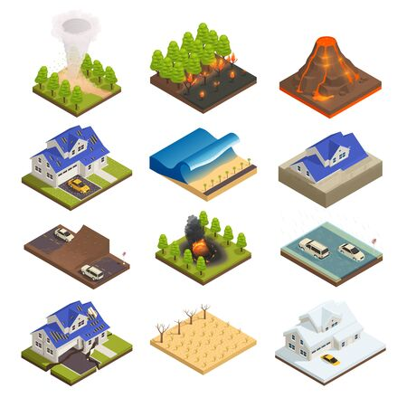 Icono isométrico de desastres naturales con incendios forestales tsunami tornado inundaciones sequía nieve granizo y otra ilustración vectorial